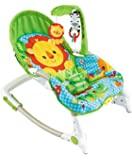 BAYBEE Newborn-to-Toddler Portable Rocker Cum Bouncer with Soothing Vibration & Musical Toy (Green & Yellow)