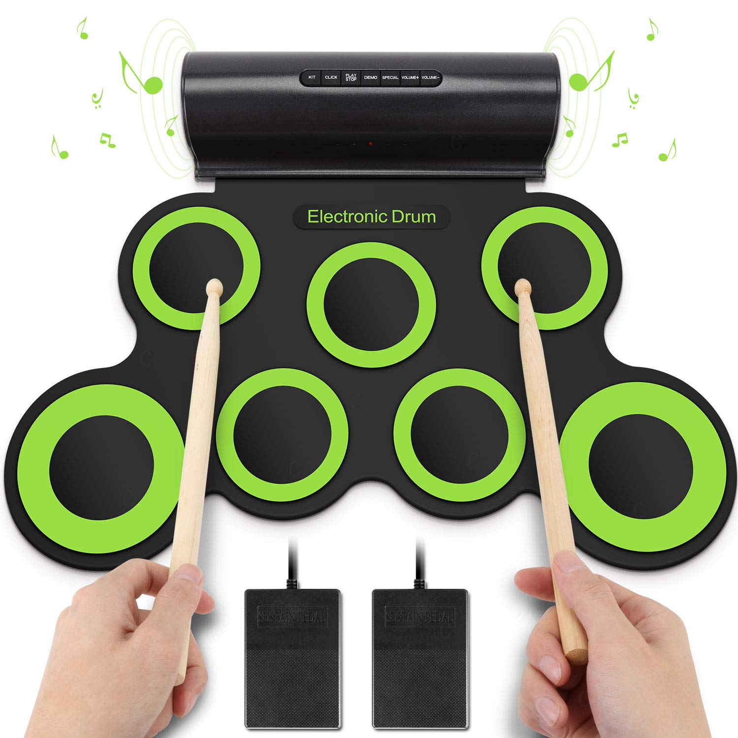YISSVIC Electronic Drum Set Roll Up Drum Kit Pad Foldable Portable Kids Practice Drum Pad with Headphone Jack Built-in Speaker Foot Pedals Drum Sticks For Kids or Beginner Earthly Paradise US