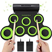 Yissvic Electric Drum Digital Drum Roll up Drum Musical Toy Instruments 7 Pads Built in Speaker Foot Pedals Drum Sticks Christmas Gift for Kids