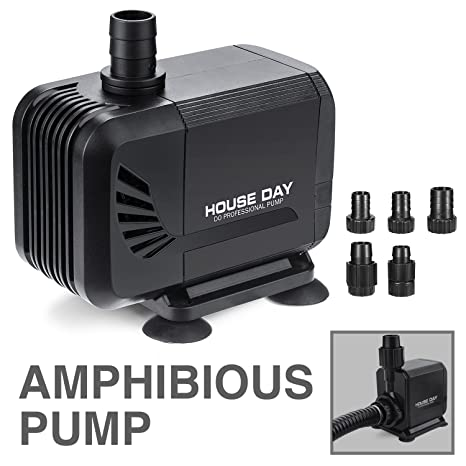 HOUSE DAY Amphibious Submersible Water Pump With Dry Burning Prevention  Fuction,Long Power Cord,Nozzles for Aquarium,Fish