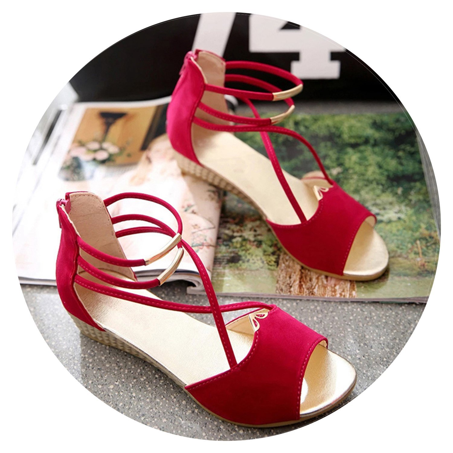 Women's Sandals Fashion Summer Wedge Shoes Casual Ladies Open Toe Gladiator Sandals B07DN3YVV5 6 B(M) US|Red