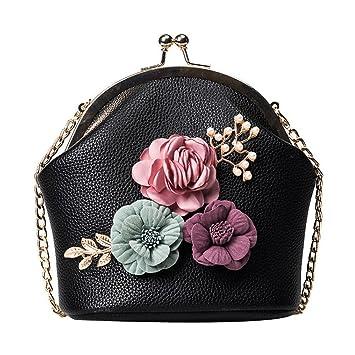 Amazon.com: tloowy Mujer Flores retro bolso de mano correa ...