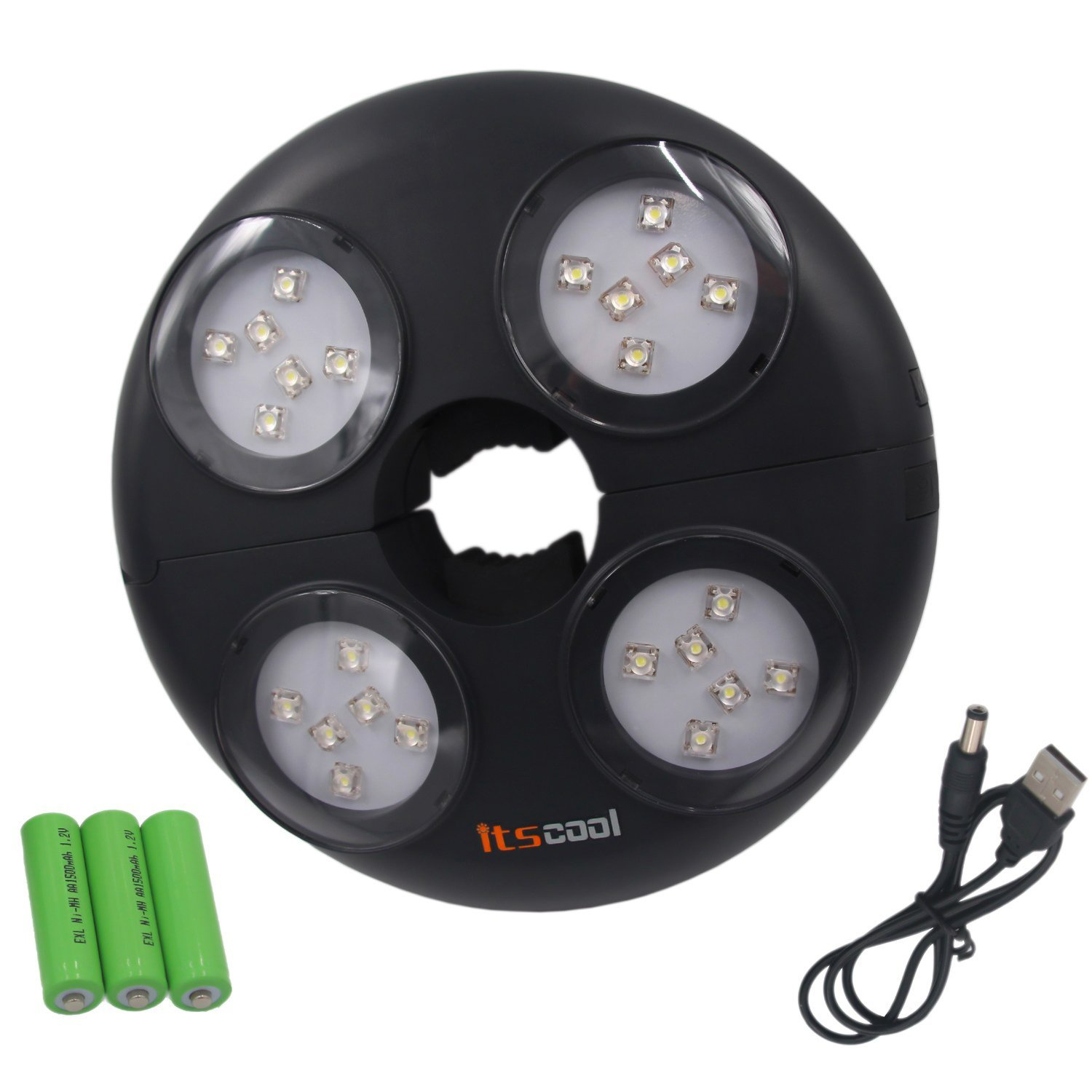 Itscool Umbrella Light Parasol Pole Light with 24pcs High Brightnes LED 4500mAh Rechargeable Battery Inside 280 Lumens