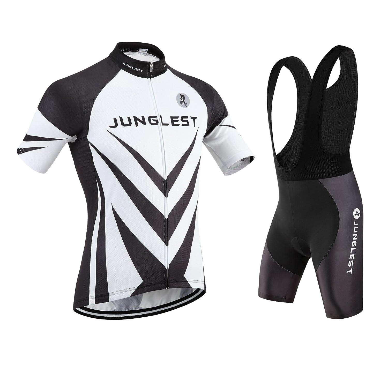 Cycling Jersey Set Wen半袖(S ~ 5 X L、オプション:よだれかけ、3dパッド) n113 B01BUHGY8S  種類: セット(ブラック前掛け) (2.8cm 3D pad)(Chest 45-47inchs)