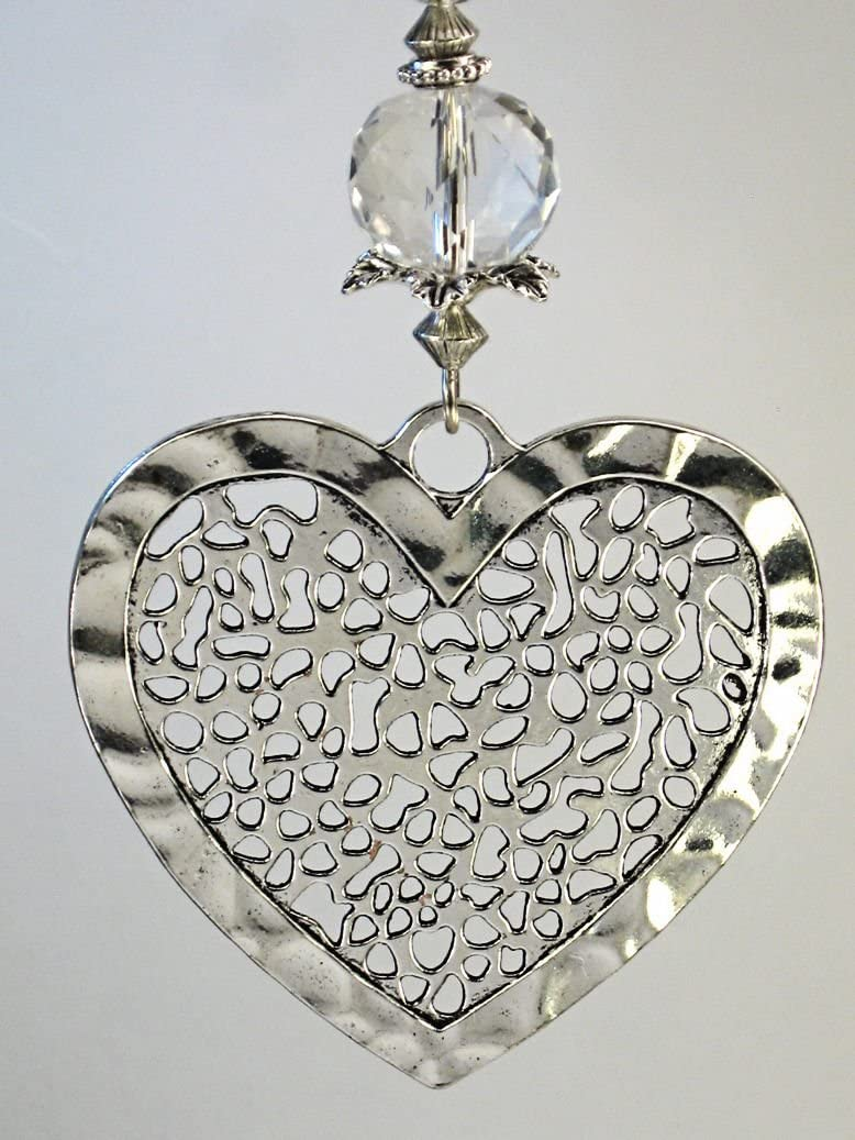 Extra Large Silver Hammered Lace Heart with Crystal Clear Glass Ceiling Fan Pull Chain