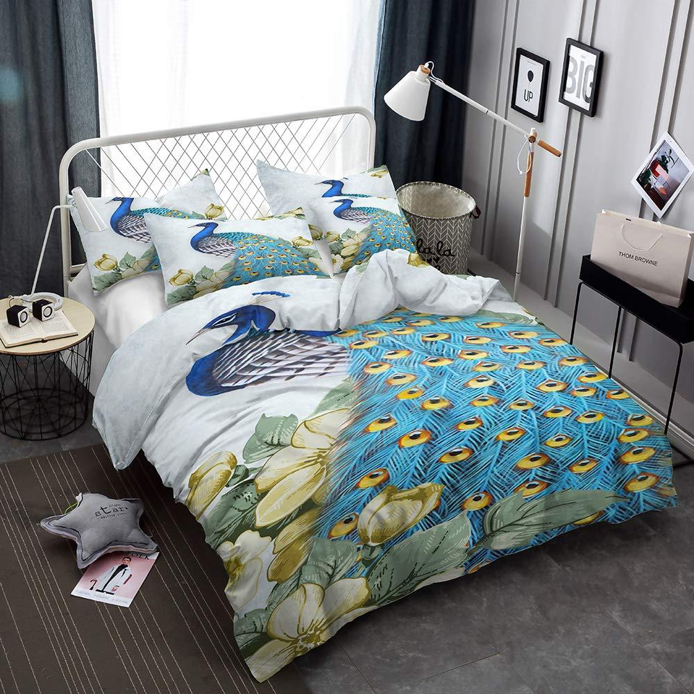 CHAOSE Ensemble De Literie 3D Paon Clair 1 Housse De Couette + 1 Taies doreiller 1.2M Bed 3D Plumes color/ées 2, 140x200cm+1//75x50cm Polyester-Coton Housse De Couette 2 Pi/èces