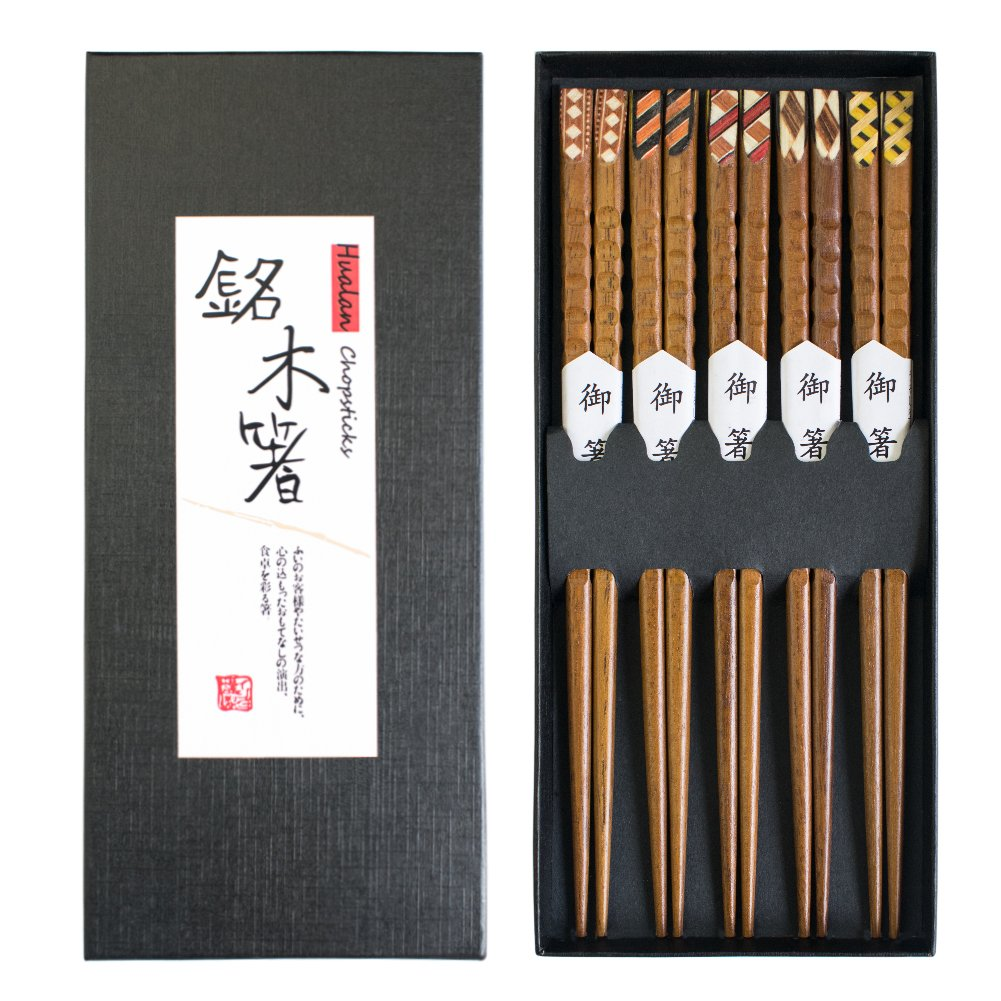 Hualan Natural Wood Chopsticks Series - Lightweight Japanese Style Chopsticks Healthy and Reusable Chopsticks 5 Pairs Gift Set