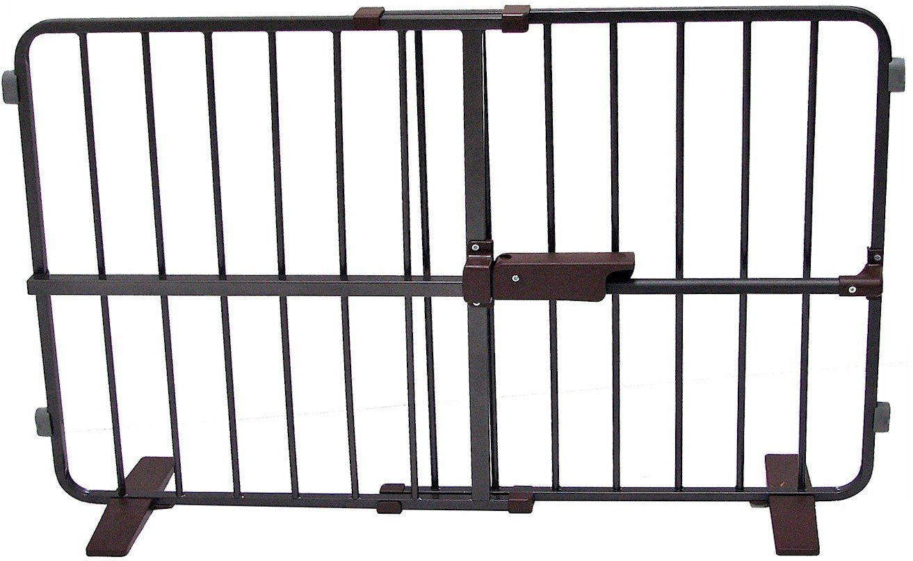 Crown Pet Products 23-Inch High Flexi Fit Pressure Mounted Pet Gate, Fits Openings 28'' to 40'', Dark Bronze/Brown Finish