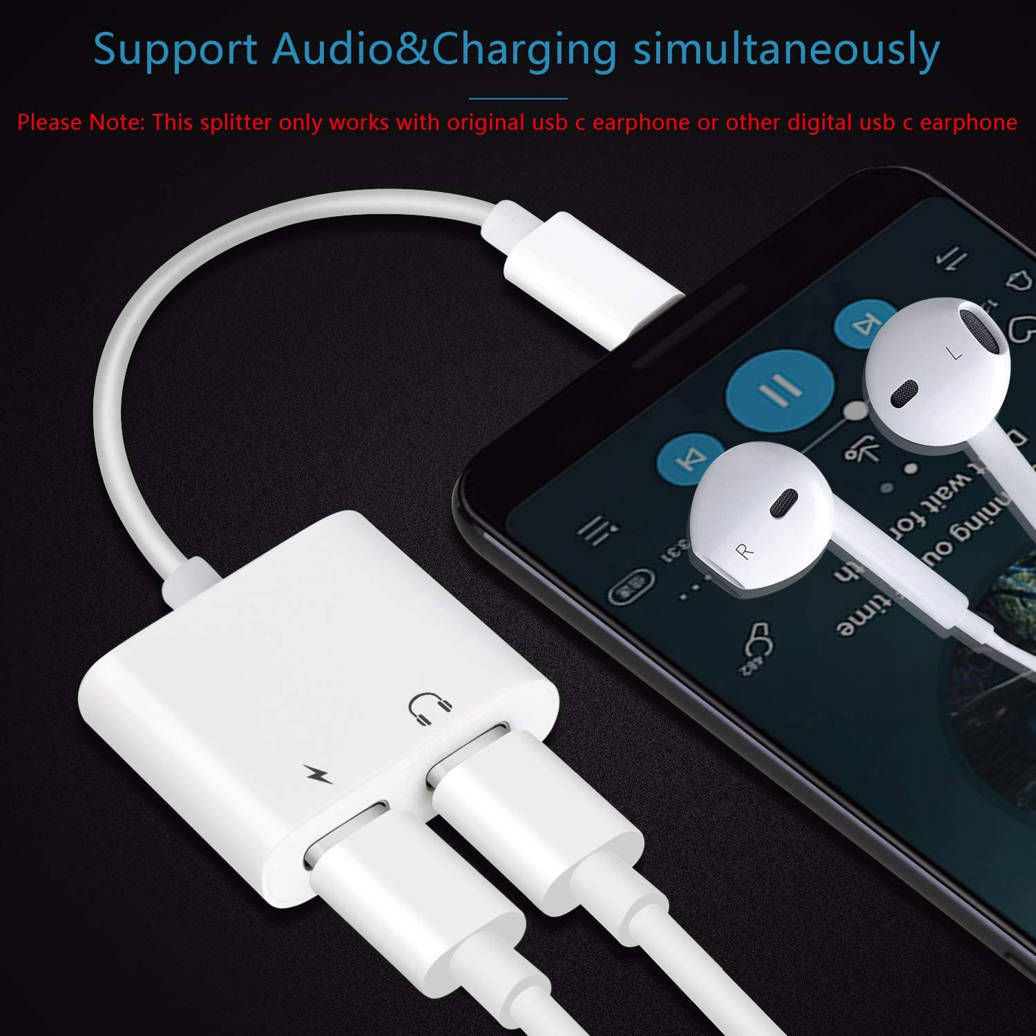 Mxcudu 2 in 1 USB C Male to USB C Audio/&Charging Converter Adapter and USB C Earphone Dongle Compatible with Google Pixel 4//3XL USB C Headphone Jack Adapter Galaxy Note 10//10+ and More White