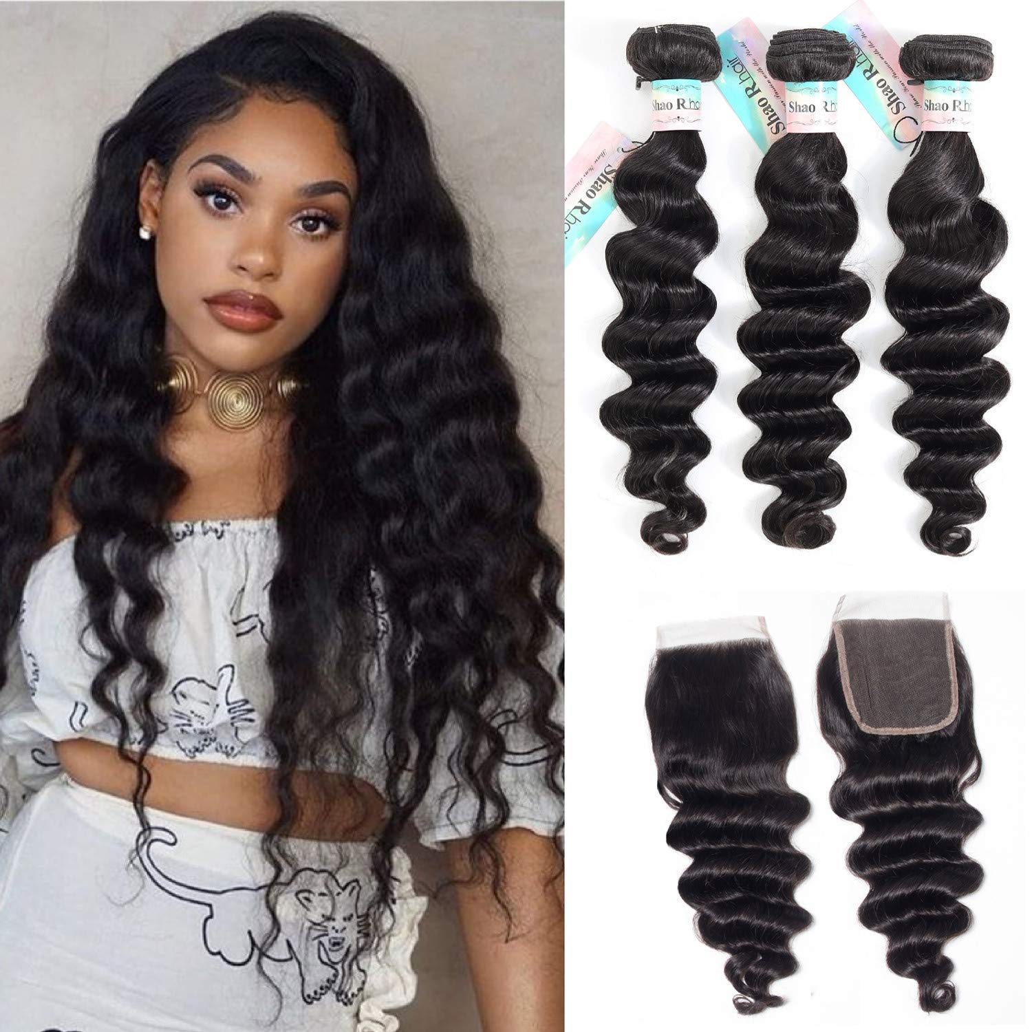 """9A Brazilian Loose Deep Wave Bundles with Closure,Brazilian Virgin Hair Loose Deep Curly Hair,100% Human Hair 3 Bundles with Swiss Lace Closure Hair Extension Natural Color (20""""22""""24""""with 18 free)"""