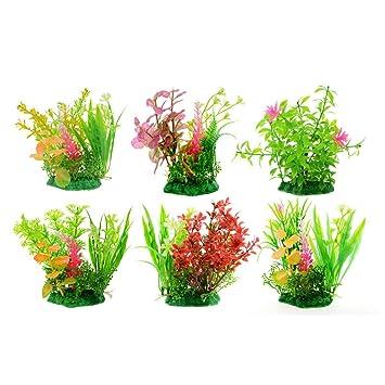 Saim - Juego de plantas artificiales de plástico para acuario, decoración de plantas y peces, 6 unidades: Amazon.es: Productos para mascotas