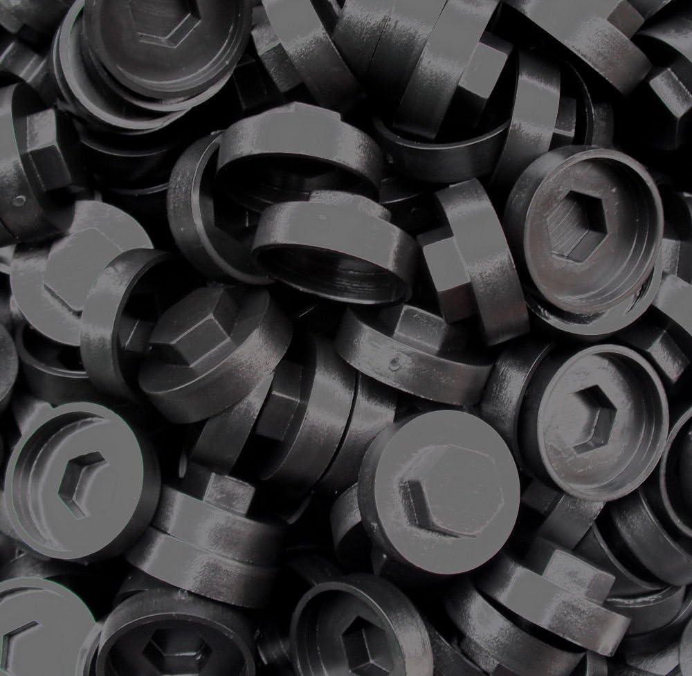 200 tapas de rosca de aluminio de alta calidad, color negro, 16 mm de cobertura, recibos de 8 mm: Amazon.es: Bricolaje y herramientas