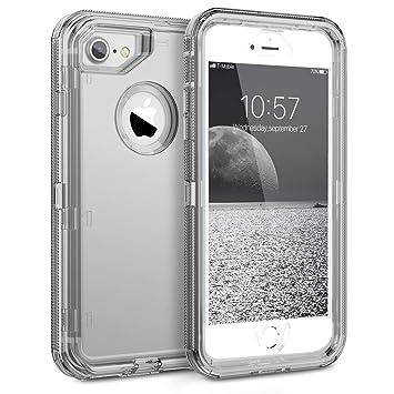 KOTPARX Funda para iPhone 6/6S/7/8, Carcasa de Protección 360 Grados Transparente Clear [Silicona Suave TPU + Rígido Duro PC] Antigolpes Anti-Rasguño ...