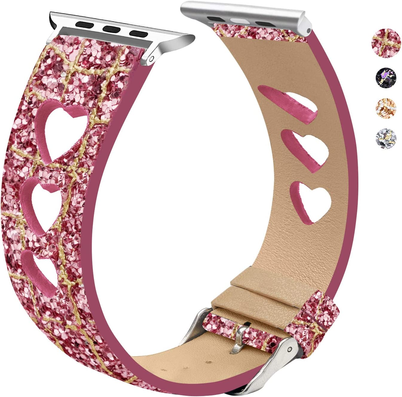 EurCross Sport Band Replacement Wrist Strap Compatible with Apple Watch 38mm 40mm Heart Replacement Band Strap Compatible for iWatch Series 5/4/3/2/1(Heart Pink Gold 42/44mm)