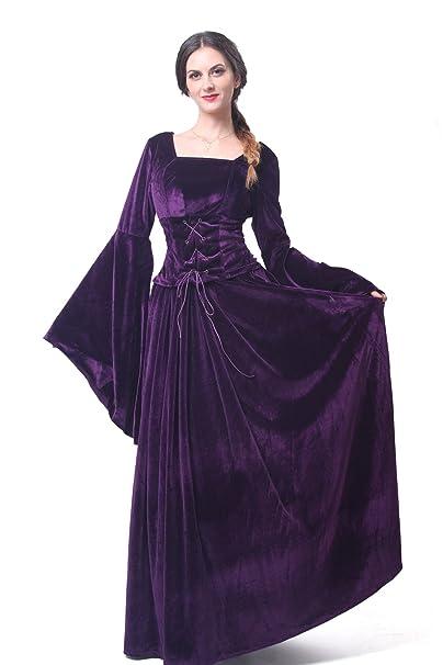 Mujeres Renacimiento medieval Victoriana Reina Halloween Partido Vestido (L, Morado)