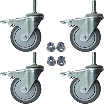 12 Pack 3 Inch Stem Casters Swivel with Brake Grey PU Caster Wheels
