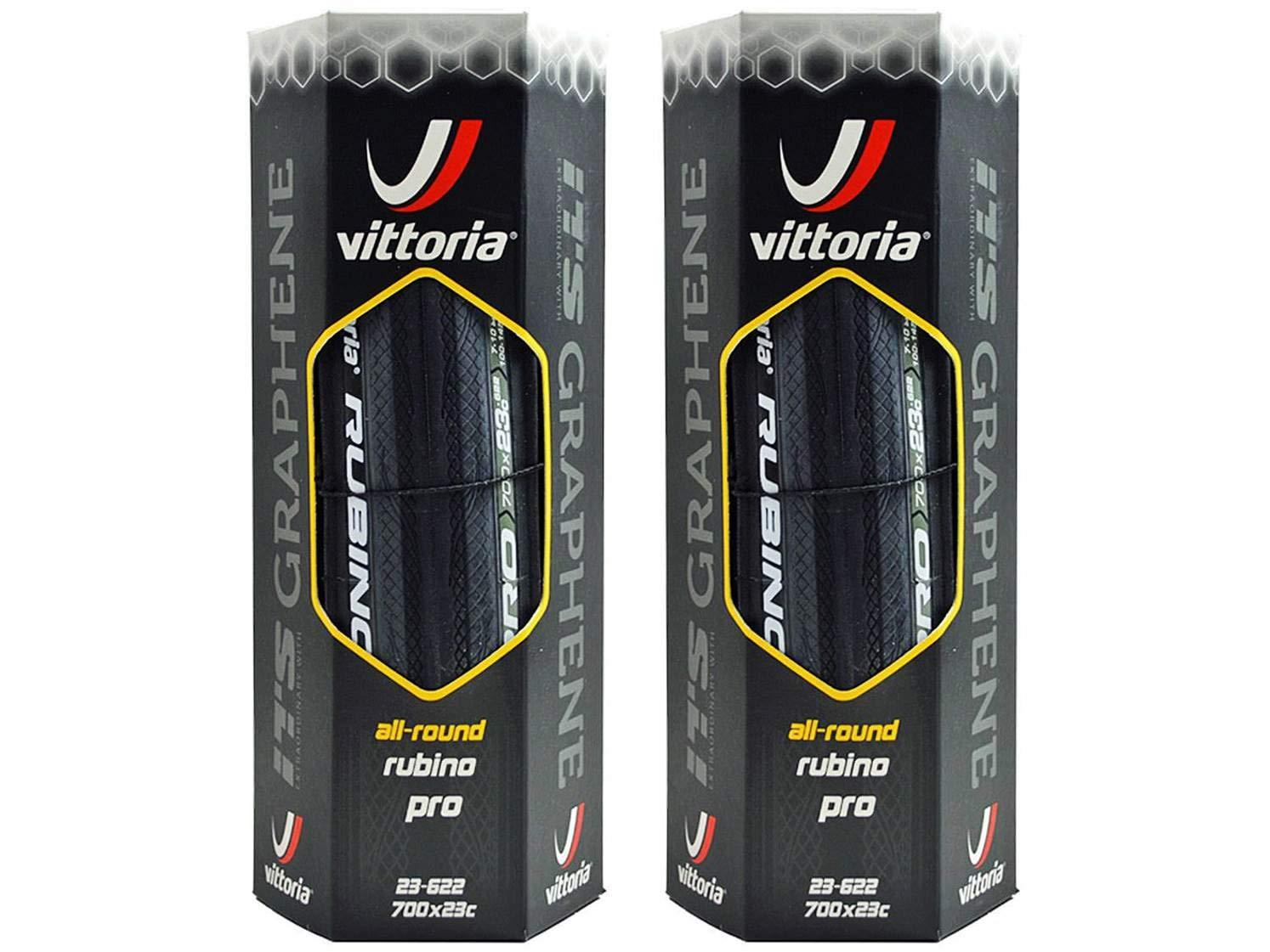 PAIR OF 700 x 23c Vittoria Rubino III Tyres Road Bike Clincher BLACK NEW