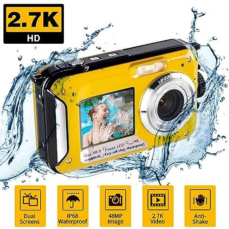 Cámara Digital Sumergible para esnórquel FHD 2,7 K 48 MP Selfie de ...