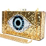 Gold Acrylic Clutch Bags Glitter Purse Perspex Bag Handbags for Women (Gold)
