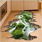 Kemilove 3D Stream Floor Wall Sticker Removable Mural Decals Vinyl Art Living Room Decor(Stream)