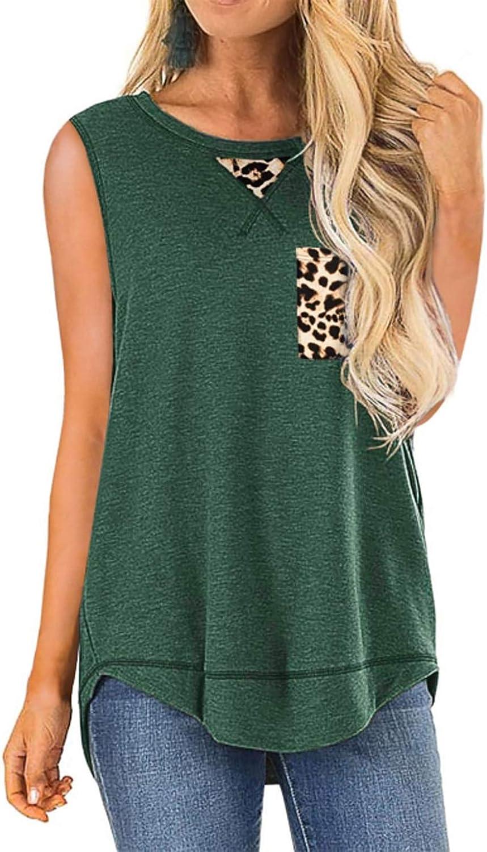 ZIOOER Women Casual Loose Round Neck Leopard Pocket Sleeveless T-Shirt Tunic Blouse Tank Tops