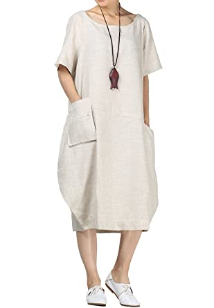 5d8a456537 Mordenmiss Women s Cotton Linen Dresses Short Sleeve Baggy Loose Summer  Clothing w Hi-Low