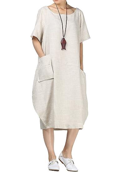 85710317625 Mallimoda Women s Linen Midi Dress Bubble Hem Tunic with Hi-Low Pockets  Beige M