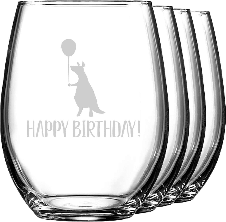 Animal Friend Birthday Wine Glasses (Stemless- Set of 4) (Personalized)
