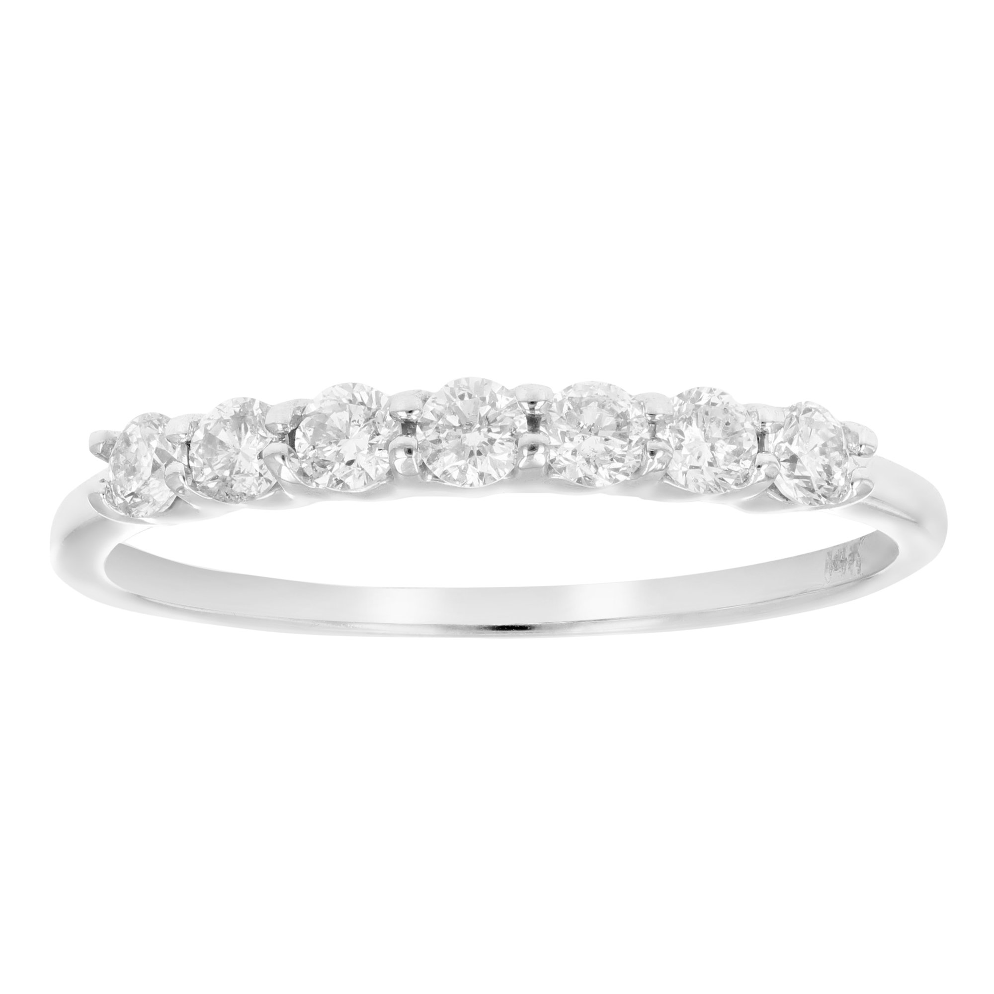 1/2 CT 7 Stone Diamond Wedding Band in 14K White Gold In Size 6.5