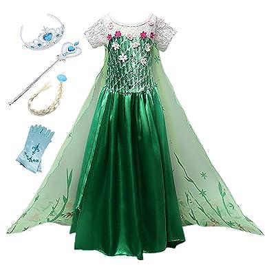 Eisprinzessin Party Kinder Monissy Weihnachten Geburtstag Prinzessin Kleid Mädchen Karneval Cosplay Elsa Eiskönigin Kostüm Geschenk Verkleidung 3jLA45qR