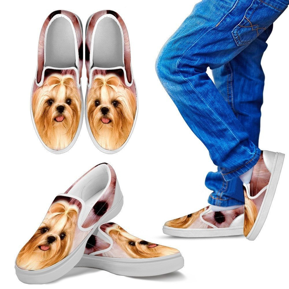 for Lhasa Apso Dog Lovers Pawlice Lhasa Apso Dog Print Slip Ons Shoes for Kids