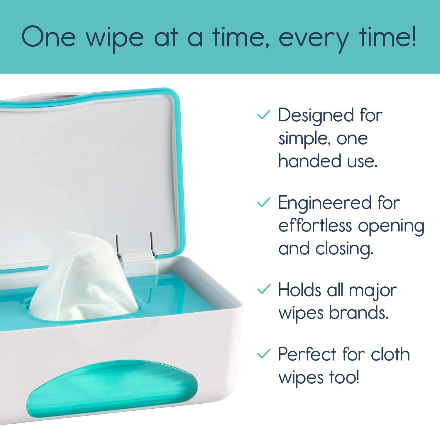 hiccapop Baby Wipe Dispenser Baby Wipe Holder Keeps Diaper Wipes Fresh Teal Non-Slip Baby Wipes Case Easy Open /& Close Wipe Container