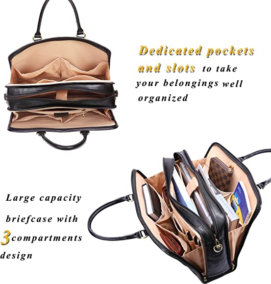 Banuce Full Grains Italian Leather Briefcase for Women Handbags Business Bag Attache Case Ladies Messenger Satchel Purse Black