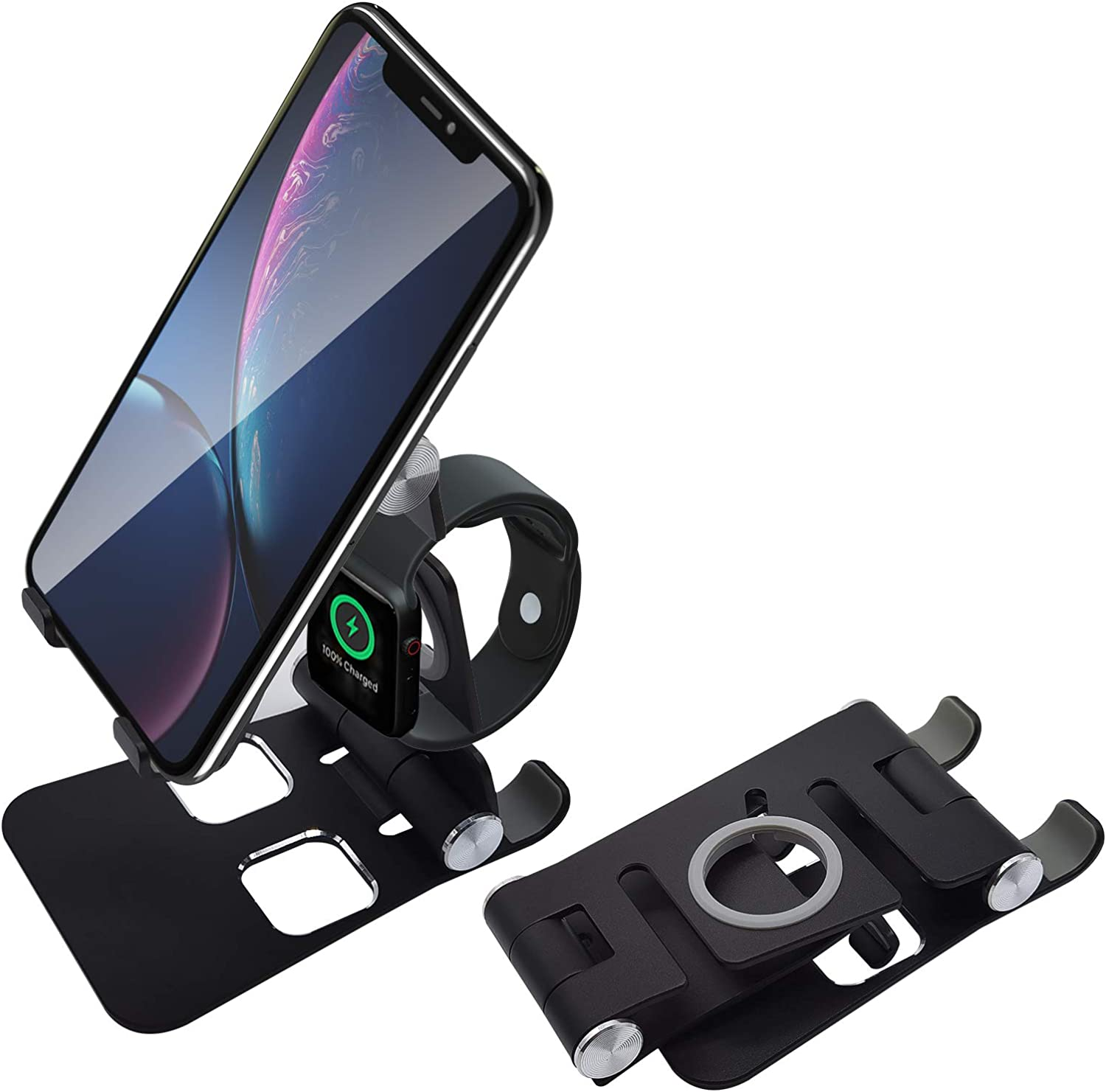 3-in-1Cell Phone Stand, Fully Foldable, desktop cell phone stand tablet stand, Adjustable Phone Holder Cradle Dock Compatible with Phone 11 Pro Xs Xs Max Xr X, Nintendo Switch, Tablets, Apple Watch SE
