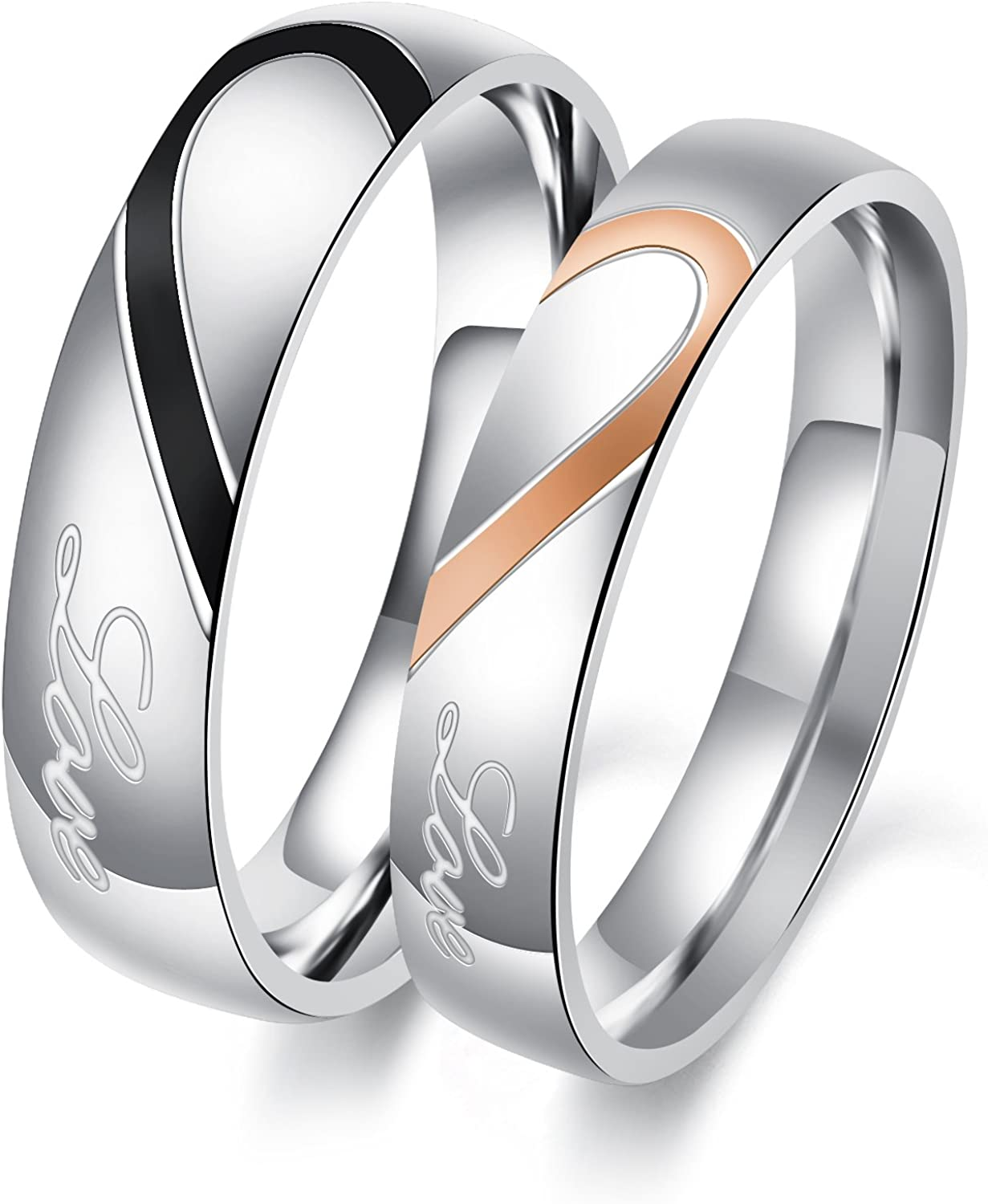 This is a picture of OPK Rings for Couples His and Her Stainless Steel Heart Shape Matching Set Real Love Couples Wedding Band Heart Rings for Couples(A Pair)