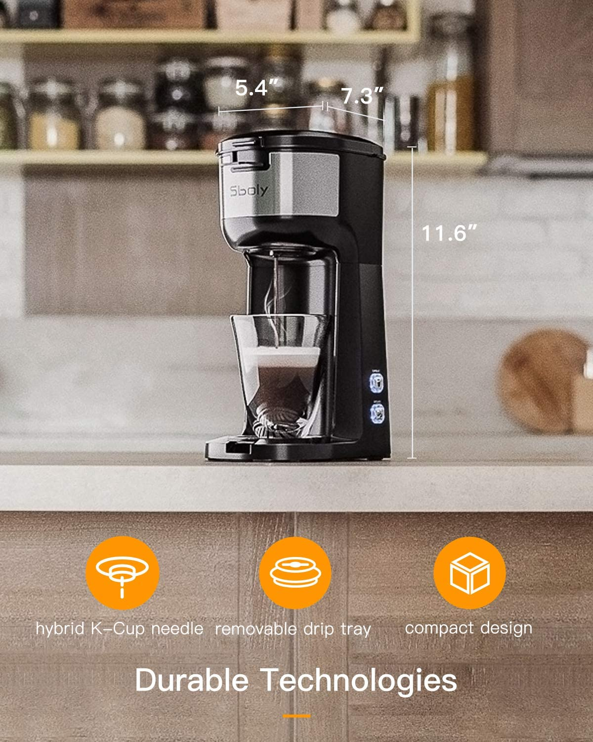 Sboly Single Serve Coffee Maker Brewer for K-Cup Pod & Ground Coffee Thermal Drip Instant Coffee Machine with Self Cleaning Function, Brew Strength Control: Kitchen & Dining