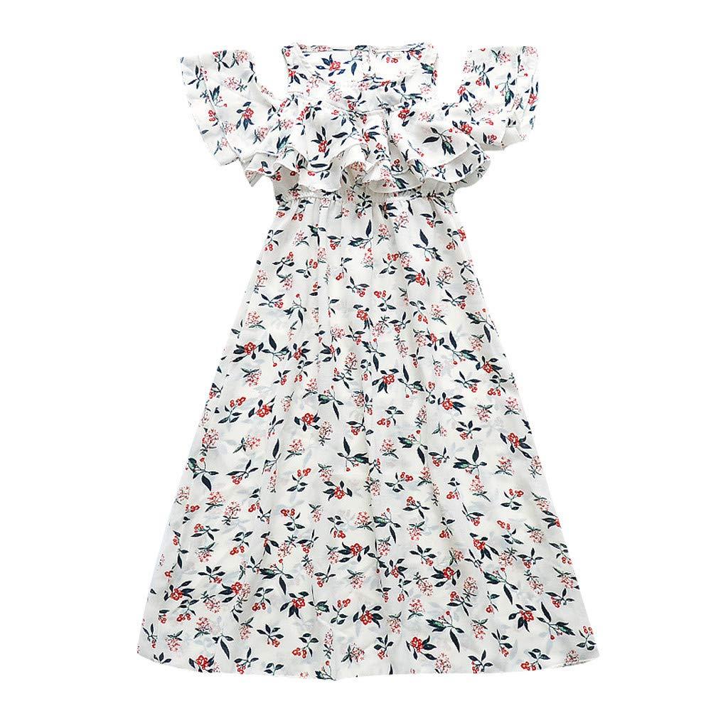 ❤️ Mealeaf ❤️ Kids Teen Children Girls Ruffles Floral Off Shoulder Beach Dress Casual Clothes(White,160)