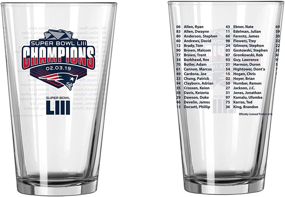 New England Patriots Super Bowl LIII Champions Official 16 oz Roster Pint Glass