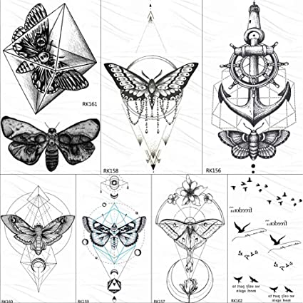 Tatuajes Temporales Geométrica Mariposa Polilla Colgante Tatuajes ...