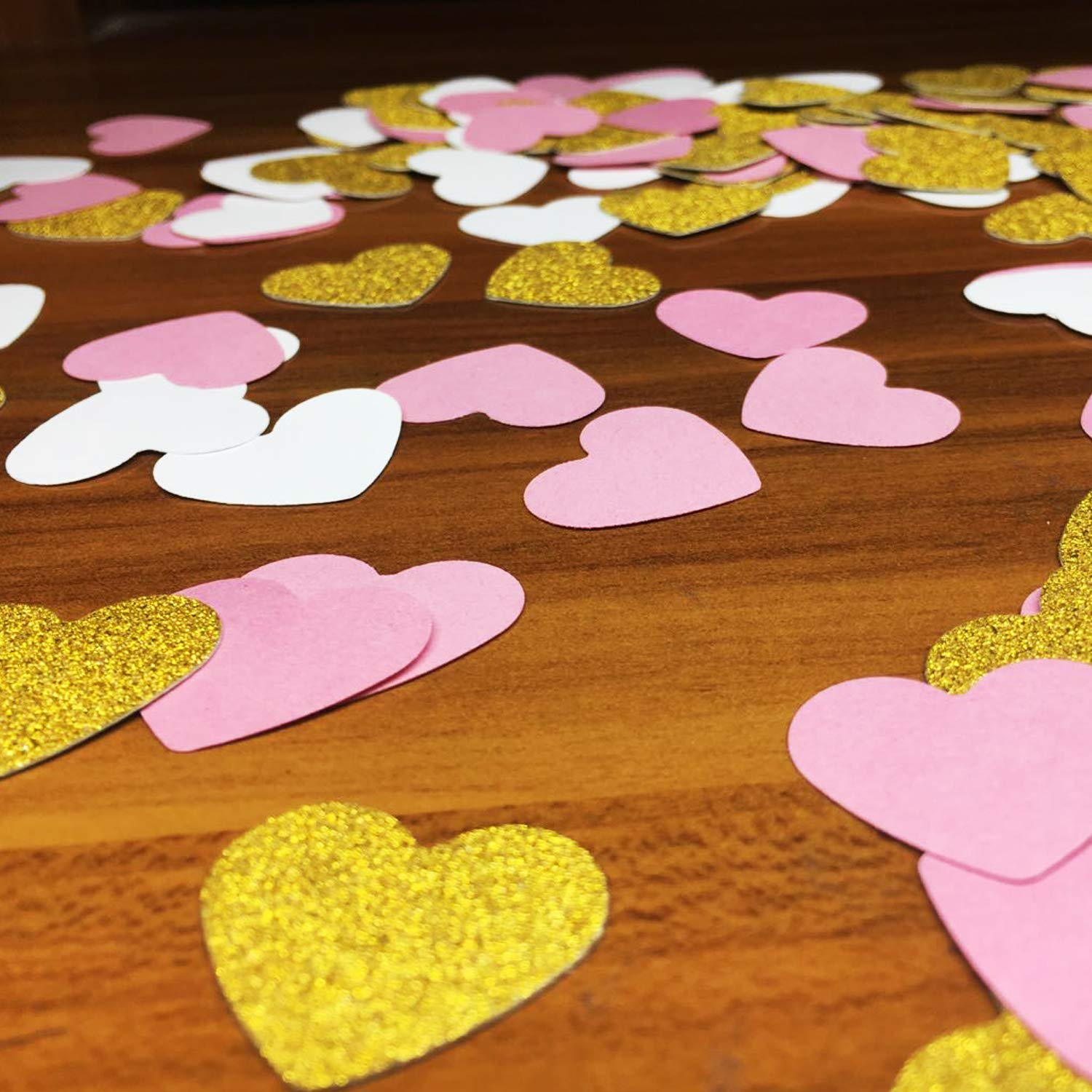 Gold, Pink and White, Heart 300 PCS Heart Paper Confetti Seasonsky Gold Pink and White Heart Confetti Table Scatter Paper Confetti for Bachelorette Decorations Wedding Party Supplies Baby Shower