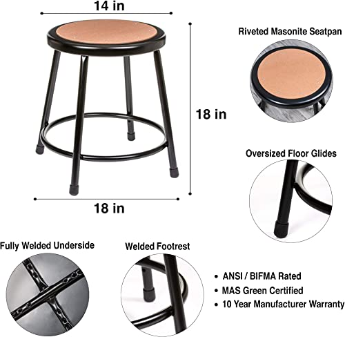 2 Pack OEF Furnishings Black Shop Stool, 18 High