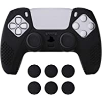 eXtremeRate PlayVital Black 3D Studded Edition Anti-Slip Silicone Cover Skin for Playstation 5 Controller, Soft Rubber…