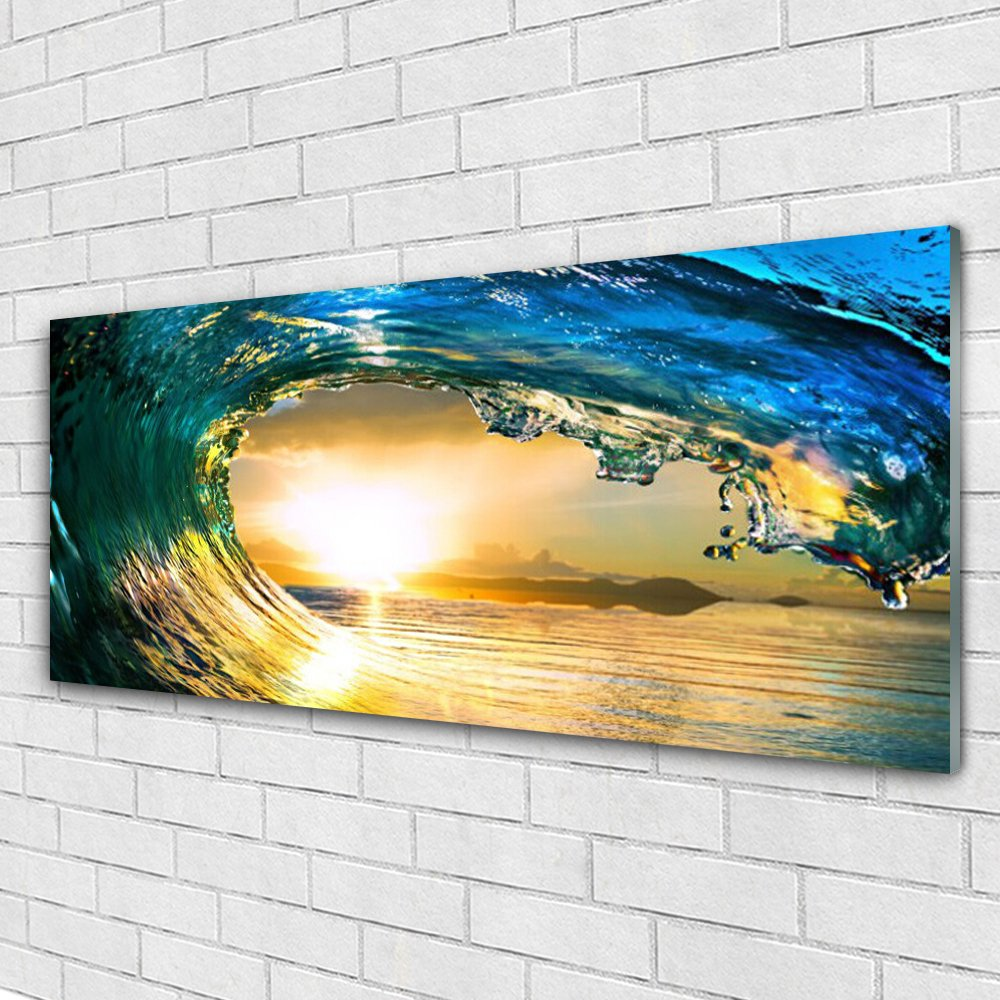 Acrylic Glass Print Wall Art by Tulup 125x50cm Image printed on Plexiglas® - Wall Picture behind Plastic / Acrylic Glass - Wave Sea Sunset Nature