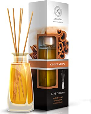 Cinnamon Reed Diffuser w/Natural Essential Cinnamon Oil 100ml - Fresh & Long Lasting Fragrance - Gift Set w/ 8 Bamboo Sticks - Best for Aromatherapy - Spa - Home - Office - Boutique - by Aromatika