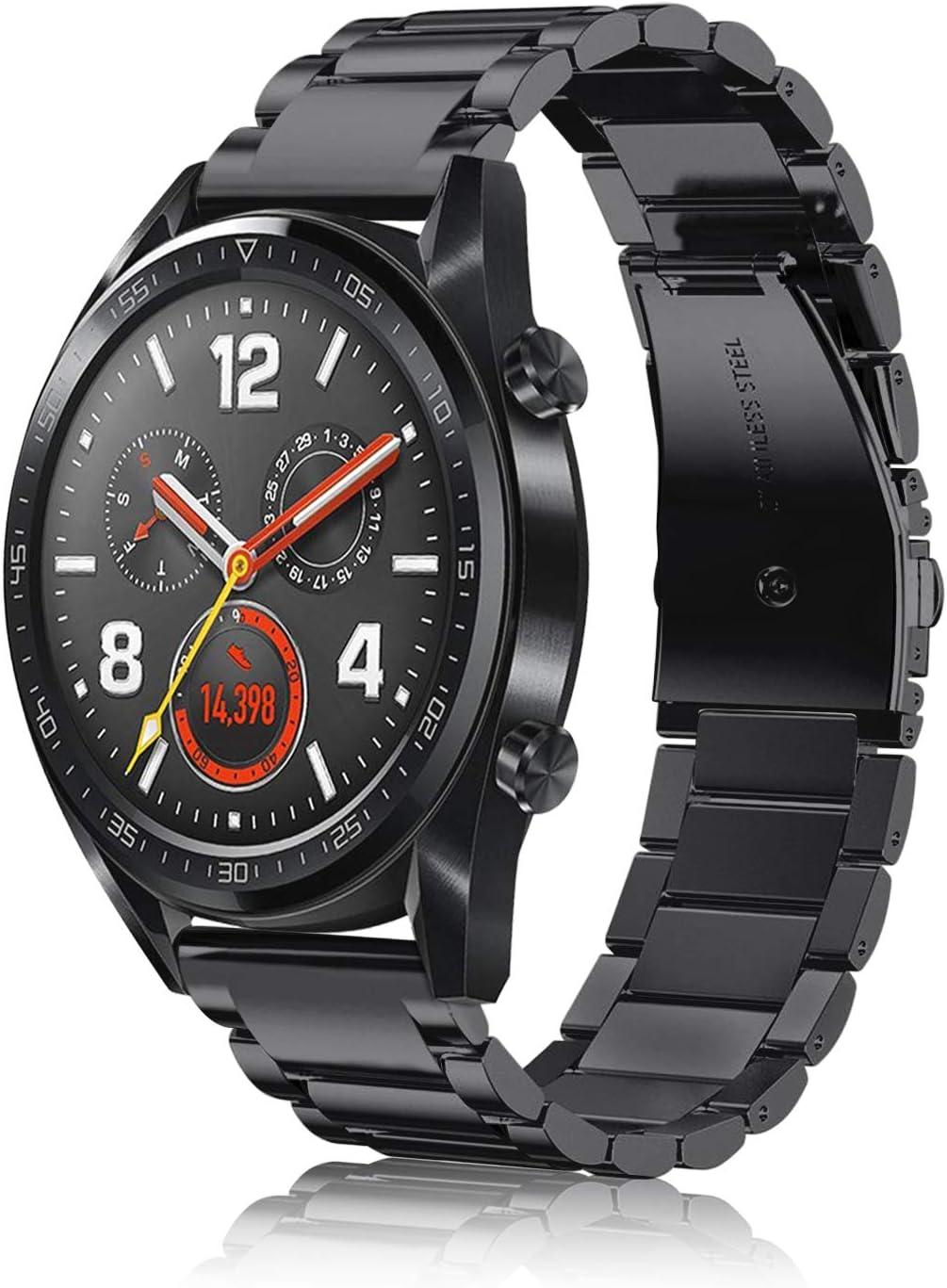 Fintie Correa Compatible con Huawei Watch GT 2 / Huawei Watch GT 46mm Sport/Classic/Active/Elite - Pulsera de Repuesto de Acero Inoxidable Banda Ajustable de Metal, Negro