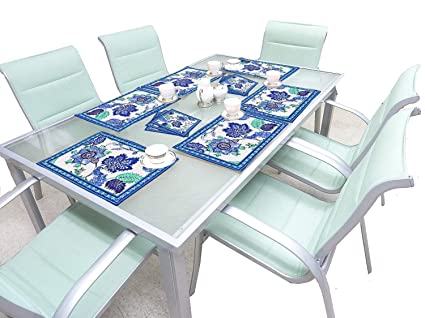 Cloth Fusion Cotton Dining Table Placemats with Napkins Set of 6 PCS- Lagoon