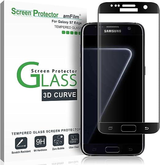 Amfilm Panzerglas Schutzfolie Für Galaxy S7 Edge Vollständige Abdeckung 3d Abgerundete Glas Displayschutzfolie Für Samsung Galaxy S7 Edge Schwarz Elektronik
