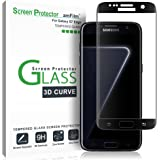 Galaxy S7 Edge Screen Protector Glass, amFilm Full Cover (3D Curved) Tempered Glass Screen Protector with Dot Matix for Samsung Galaxy S7 Edge (Black)
