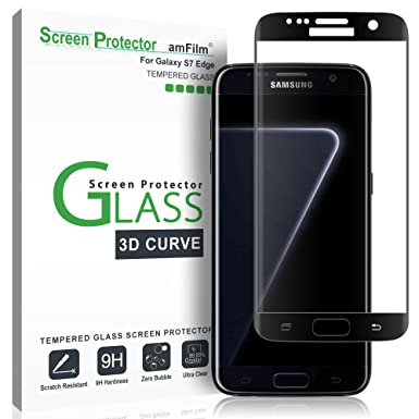 18b6150c181a55 Galaxy S7 Edge Screen Protector Glass, amFilm Full Cover (3D Curved)  Tempered Glass
