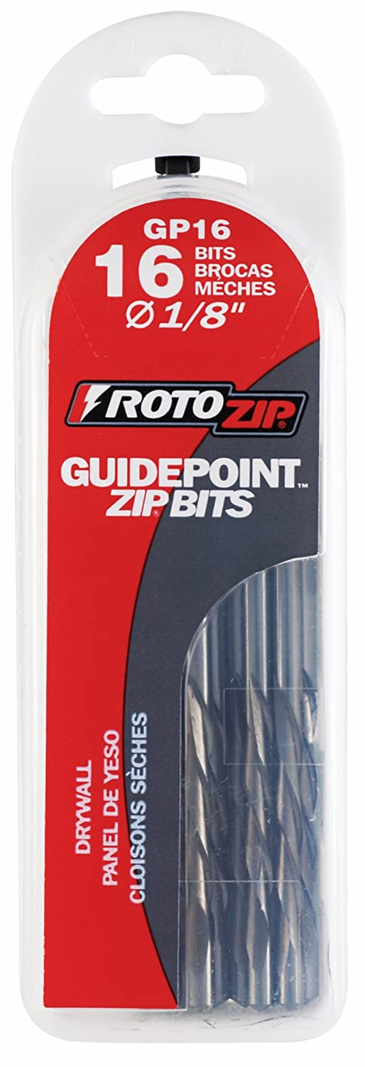 16-Pack RotoZip GP16 1//8-Inch Guide Point Drywall Cutting Zip Bit